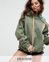 Reclaimed Vintage Inspired Oversized Hoodie With Rainbow Ties