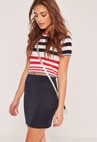 Missguided Petite Scuba Mini Skirt Navy