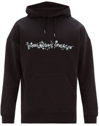 Givenchy Floral Logo Print Cotton Hooded Sweatshirt - Mens - Black