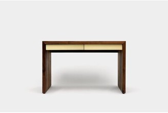 """Artless SQM Solid Wood Writing Desk Size: 30"""" H x 60"""" W x 30"""" D, Color: Brushed Gold"""