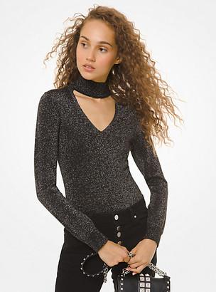 Michael Kors Metallic Knit Cutout Sweater