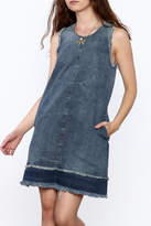 Tractr Denim Frayed Shift Dress