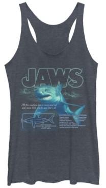Fifth Sun Jaws Great Shark Description Print Tri-Blend Racer Back Tank