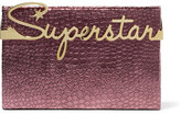 Charlotte Olympia Superstar Vanity Croc-effect Leather Clutch - Plum