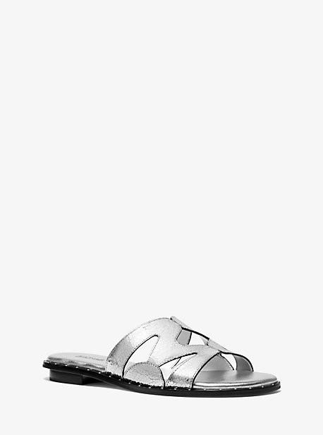 Michael Kors Annalee Metallic Textured Leather Slide