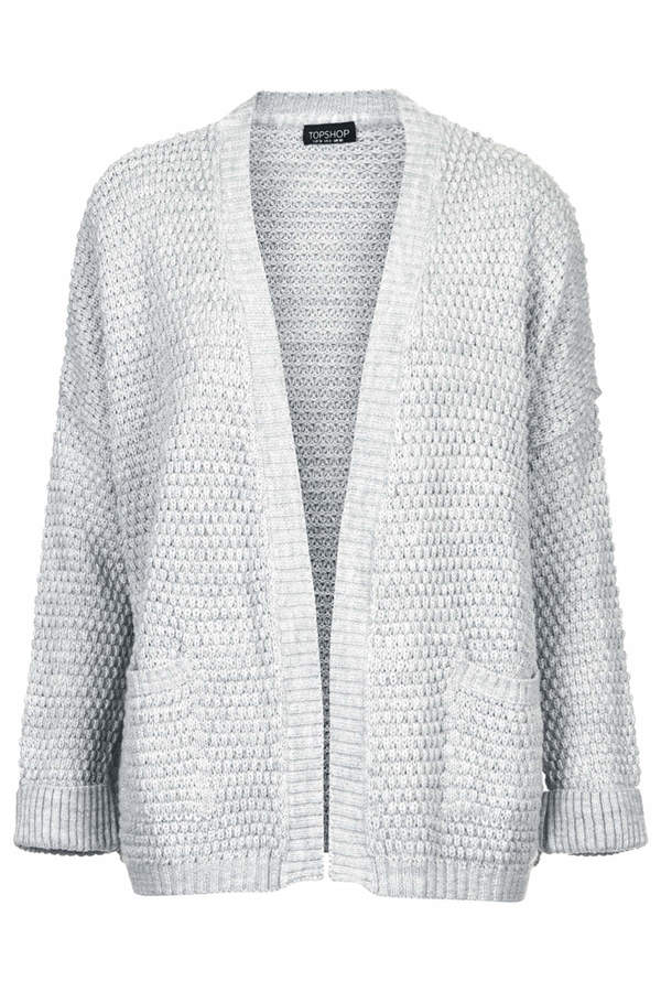 Topshop Boxy stitch knitted grey cardigan with pockets at hips. 100% acrylic. machine washable.