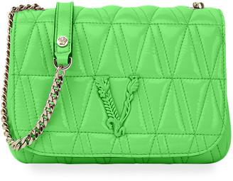 Versace Virtus Quilted Lamb Leather Shoulder Bag