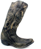 "Golden Goose 273-A1 Flying"" Black Distressed Tooled Leather Cowboy Boot"