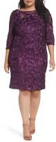 Alex Evenings Plus Size Women's Rosette Lace Sheath Dress