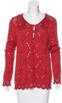 Rena Lange Embellished Open-Knit Cardigan
