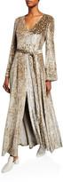 Co Shimmer Velvet Long-Sleeve V-Neck Gown