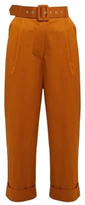 Isa Arfen High-rise Cotton-blend Trousers - Tan