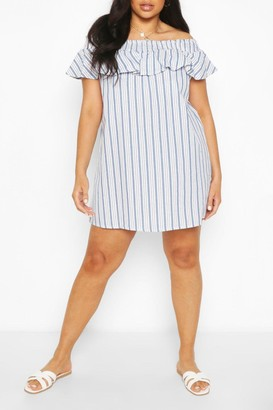 boohoo Plus Stripe Bardot Ruffle Shift Dress