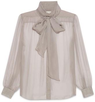 Saint Laurent Sheer Silk Pussybow Blouse
