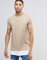 Asos Super Longline T-shirt In Khaki With Contrast Hem Extender