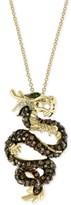 "Effy Diamond (1 ct. t.w.) & Emerald Accent Dragon 18"" Pendant Necklace in 14k Gold"