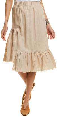 Little Lies Frayed Hem Linen-Blend Midi Skirt