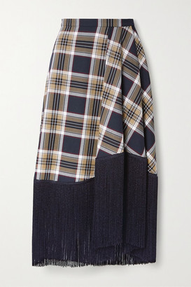 Rokh Fringed Checked Twill Midi Skirt - Navy
