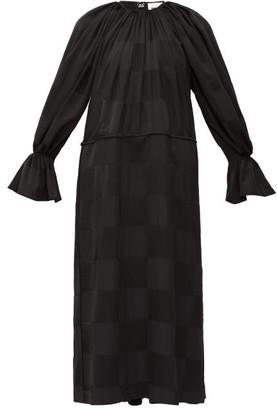 Jil Sander Patchwork Silk Crepe And Satin Dress - Womens - Black