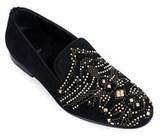 Roberto Cavalli Black Suede Gold Embellished Slip Ons.
