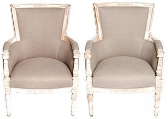 One Kings Lane Vintage Vintage French Chippy Armchairs - Set of 2 - Fleur de Lex Antiques