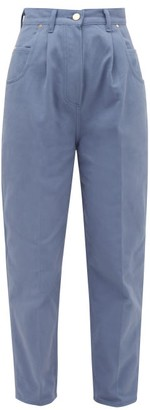 Hillier Bartley Bull Pleated High-rise Tapered-leg Jeans - Blue