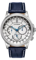 Citizen Eco-Drive Calendrier Mens Blue Leather Strap Watch BU2020-02A