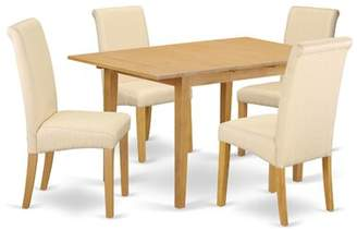 Winston Porter Sarai Kitchen Table 5 Piece Extendable Solid Wood Breakfast Nook Dining Set Winston Porter Table Color: Oak, Chair Color: Beige/Oak