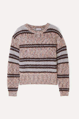 Brunello Cucinelli Sequin-embellished Striped Chunky-knit Sweater - Lilac