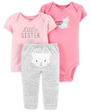 Carter's Child Of Mine By Child of Mine by Baby Girl Little Sister Shirt, Bodysuit & Pant Outfit, 3pc Set
