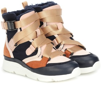 Chloé Kids Colorblocked high-top sneakers