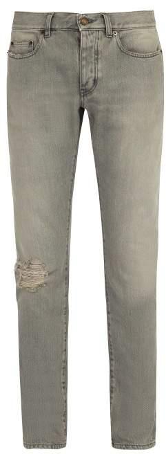 Saint Laurent Mid Rise Skinny Fit Jeans - Mens - Grey