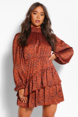 boohoo Woven Shirred Neck Blouson Sleeve Skater Dress