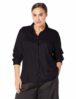 Lysse Women's Size Plus Satin Brinkley Button Down Shirt