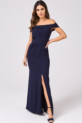 Girls On Film Essential Navy Knot Detail Bardot Maxi Dress