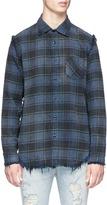 R 13 Fringed check plaid flannel shirt