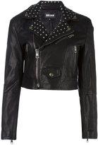 Just Cavalli cropped studded biker jacket