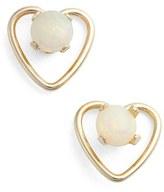 Girl's Kardee Jewelry Opal Heart Stud Earrings