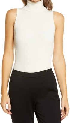 Anne Klein Sleeveless Rib Turtleneck