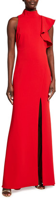 Badgley Mischka Mock-Neck Sleeveless Asymmetric Ruffle Crepe Gown