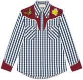 Gucci Embroidered check denim Duke shirt