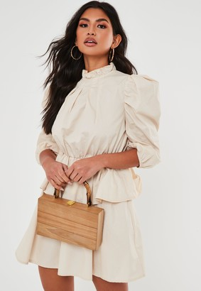 Missguided Tan Wooden Box Bag With Bamboo Handle