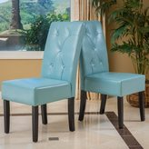 Christopher Knight Home Taylor Blue Bonded Leather Dining Chair (Set of 2)