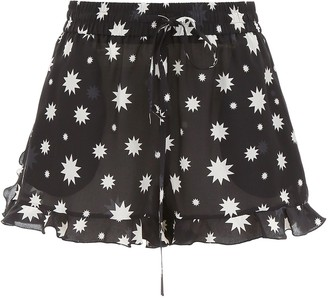 RED Valentino Star Print Ruffled Hem Shorts