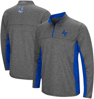 Colosseum Men's Heathered Charcoal Air Force Falcons Milton Windshirt Quarter-Zip Pullover Jacket