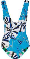 Emilio Pucci Parasol Printed Swimsuit - Azure