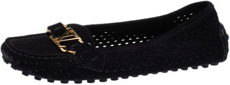 Louis Vuitton Black Perforated Suede Oxford Loafers Size 36.5
