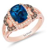 LeVian 0.28TCW Diamonds, Topaz and 14K Rose Gold Chocolatier Ring