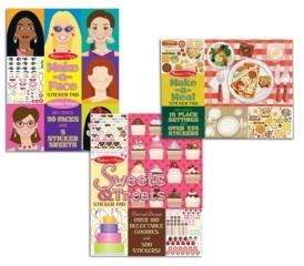 Melissa & Doug Sticker Pad Bundle - Sweets Treats, Make-a-Face and Make-a-Meal