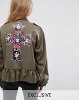 Milk It Vintage Military Band Jacket With Guns N Roses Back Print